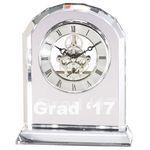 Custom Optical Crystal Desk Clock w/Arrow Beveled Edge Quartz Movement (6¾