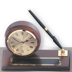 Custom Walnut Base Desk Clock w/Pen & Engraving Plate