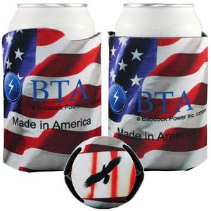 Custom Imprinted American Flag Patriotic Theme Can Coolers!