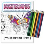 Custom Relax Pack - Brighter Minds adult coloring puzzle book combo + Colored Pencils