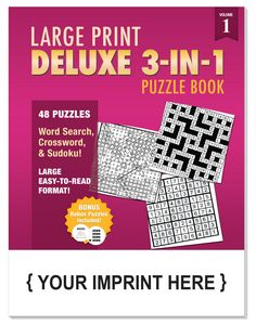 LARGE PRINT Deluxe 3-in-1 Puzzle Book