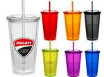 USA Made 16 Oz. Double Wall Translucent Polypropylene Travel Tumblers w/Lid