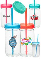 21 oz. Plastic Lollipop Mason Jars with Straw