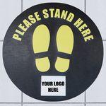 Custom Stand Here Social Distancing Mat Circle