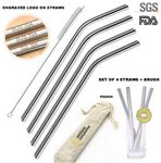 Custom Set of 4 Stainless Steel Drinking Straws and 1 Cleaning Brush in Gorgeous Jute Gift Pouch