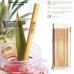 Custom Set of 4 Organic Bamboo Drinking Straws and 1 Cleaning Brush. Optional Jute Gift Pouch