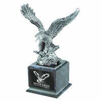 Silver Eagle Award w/Black Marble Finish Square Wood Base