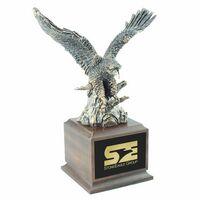 Gold Eagle Award w/Cherry Finish Square Wood Base