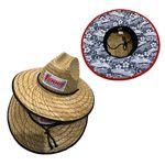 Hollow Straw Lifeguard Hat w/ Sliding Cord Lock & Custom Patch Under Brim