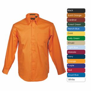 Mens Long Sleeve 100 percent Cotton Premium Peach Twill Shirt