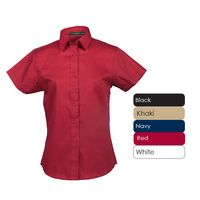 Ladies 100% Cotton Premium Twill Short Sleeve Shirt