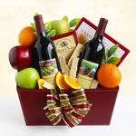 Custom Wine and Fruit Duo Gift Basket