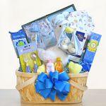 Custom Special Stork Delivery Baby Boy Basket