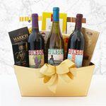 Custom Golden Vineyard Gourmet Wine Gift Basket