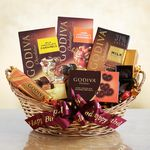 Custom Godiva Chocolate Lover's Birthday Surprise Gift Basket