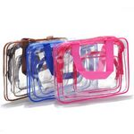 Custom 3 Piece Clear PVC Travel Cosmetic Wash Bag