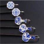 Custom Metal Chinese Culture Blue And White Porcelain Bookmark