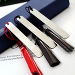 Stainless Steel Bookmark w/Tassels