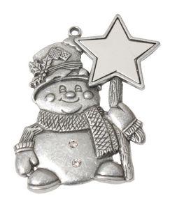 Custom Printed Snowman Gold and Enamled Christmas Ornaments