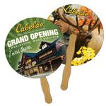 Custom Round Paper Hand Fan With Wooden Handle
