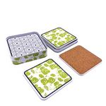 Custom Square Tinplate Cork Coasters Set