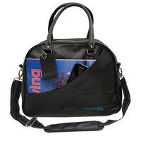 UZZI Black Simulated Leather Gym/ Yoga Duffle Bag with Shoe Pocket