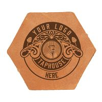 Single Hexagon Leather Coasters