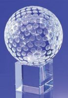 Small Crystal Golf Ball Award w/ Beveled Base