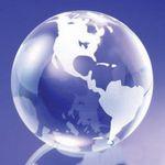 Custom Medium Clear Crystal Standing Globe