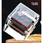 Custom Large Crystal Beveled Cube Award