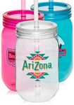 Custom 24 Oz. Plastic Mason Jars with Straw