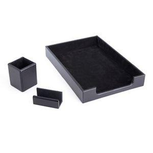 Leather Desk Set Pen Cup Organizer Letter Tray And Business Card