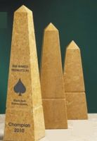 "Golden Genuine Marble Obelisk Award (10"")"