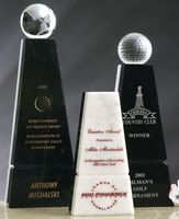 Black/White Genuine Marble Obelisk Award - Medium