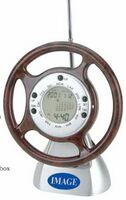 Steering Wheel World Time Clock w/ FM Scan Radio & Calendar