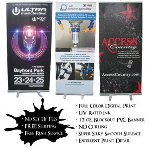 33.5x78 Full Color Roll Up Banner on Anti-Curl PVC