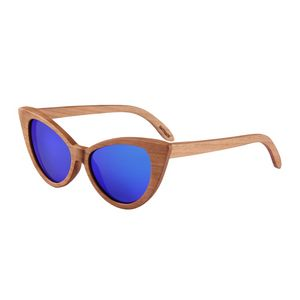 b34d1581f314 Zebra Wood Sunglasses - Blue Mirror Polarized Lenses - Cherry Wood Frames