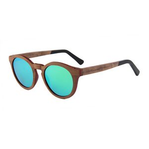 57edf36957 Rounded Walnut Wood Sunglasses - Mirrored Lenses - SGL-SUN-30543 -  IdeaStage Promotional Products