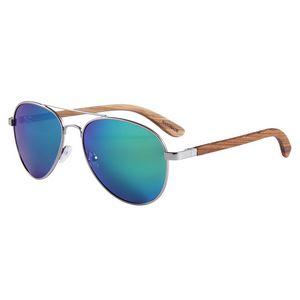 Zebra Wood Sunglasses -Green Lenses - Silver Frames
