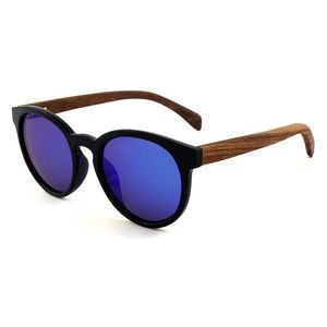 0561d9d323a Rounded Ebony Wood Sunglasses - Black Frames   Mirrored Lenses -  SGL-SUN-15074 - IdeaStage Promotional Products