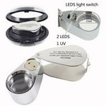 Metal Folding Magnifying Glass with LED Light