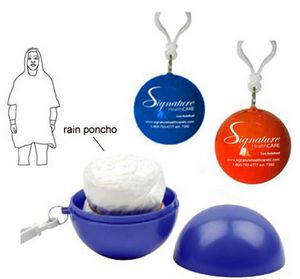 Promotional Product - PE Disposal Poncho Ball w/Clip
