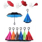 Custom Windproof Upside Down Reversed Two Layer Umbrella