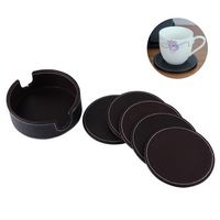 Round PU Leather Coaster Set Of 6