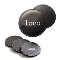 3 1/2'' Debossed PU Leather Coaster