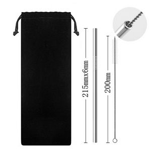 Stainless Steel Straw With A Reusable Pouch