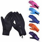 Custom Outdoor Sport Screen Touch Velvet Fabric Gloves With Zippers