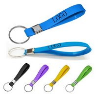 Debossed/Color-Filled Silicone Wristband with Keychain
