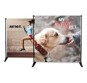 Custom Adjustable Banner Stand 6' x 8' Vinyl Graphic Package (Single Sided)