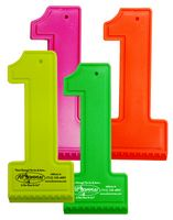 #1 Shaped PVC Neon Colored Ice Scraper
